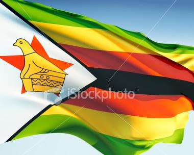 Zimbabwean flag waving in the wind elaborate rendering including